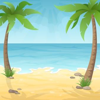 Zwei palmen am strand. seestrand mit palme, meer und himmel. urlaubsreisen hintergrund.