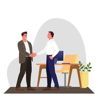 Zwei personen geben sich aufgrund einer einigung die hand. erfolgreiche zusammenarbeit.