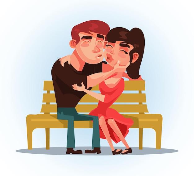 Zwei personen mann und frau sitzen auf bank und küssen. erste verabredung.