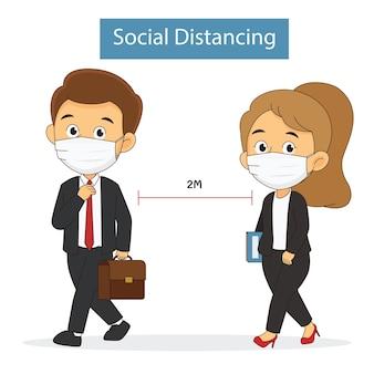 Zwei personen mit gesichtsmaske üben soziale distanzierung