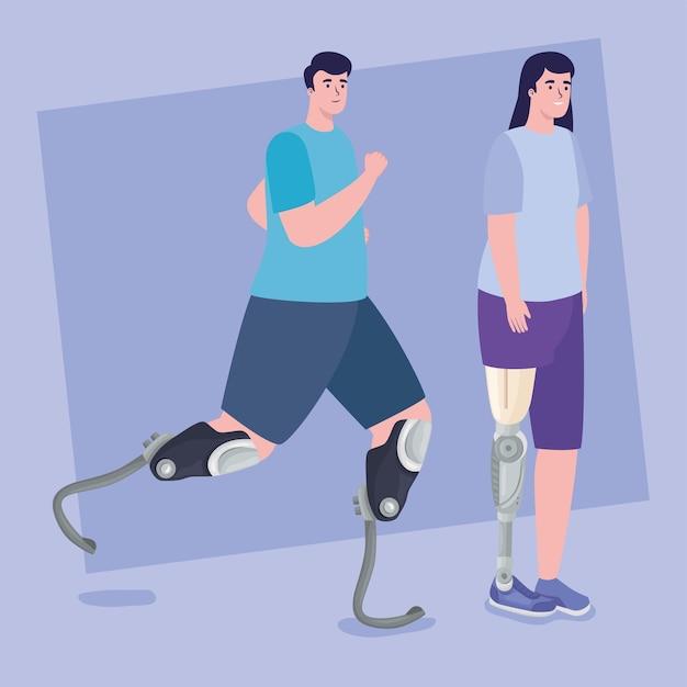 Zwei personen mit prothesen
