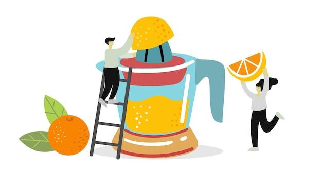 Zwei personen pflücken früchte und beeren für saft oder smoothies in entsafter sommergetränke
