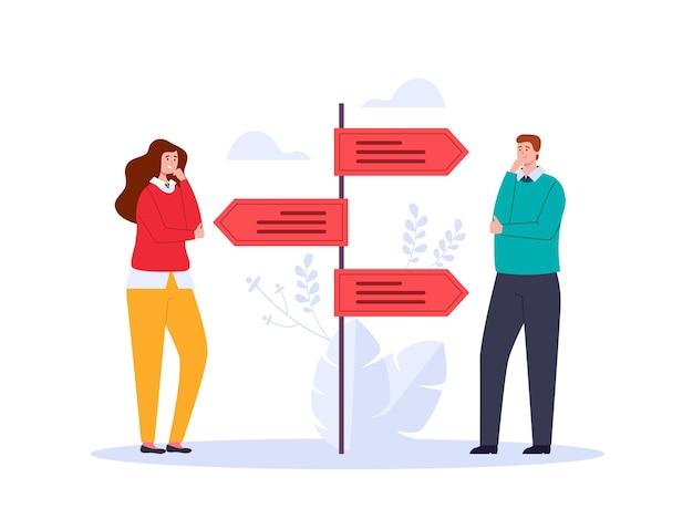 Zwei personencharaktere, die denken und wählen, ziehen illustration an