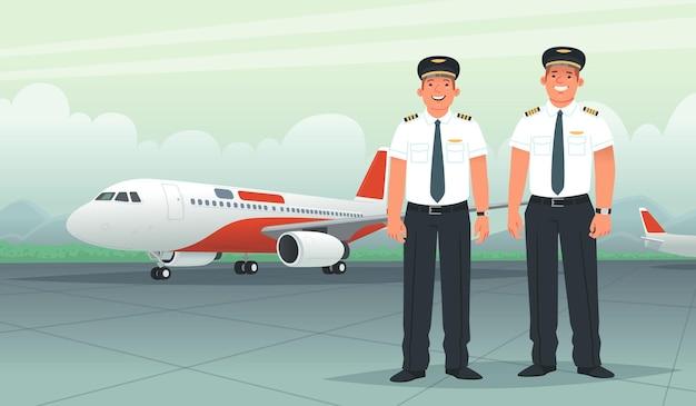 Zwei piloten auf dem hintergrund eines passagierflugzeugs am flughafen. schiffskapitän und co-pilot, mitarbeiter von fluggesellschaften. vektorillustration im flachen stil