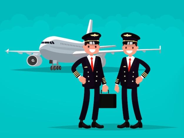 Zwei piloten im hintergrund des flugzeugs.