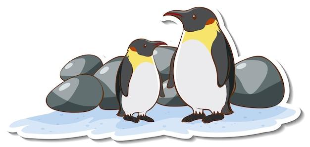 Zwei pinguine-cartoon-charakter-aufkleber