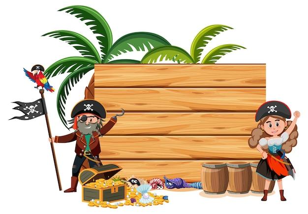 Zwei piraten-cartoon-figur mit einem leeren banner auf weißem hintergrund