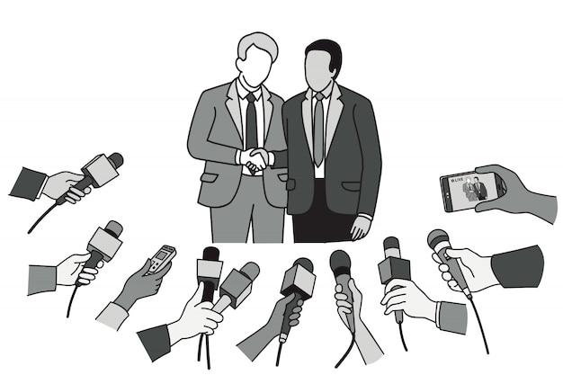 Zwei politiker, die vor der nachrichtenpresse die hände schütteln