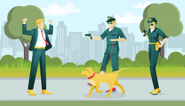 Zwei polizisten charaktere erfassen verbrecher