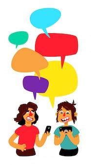 Zwei pranayas mit komischen blasen werden diskutiert. vektor. männer unterhalten sich im chat.