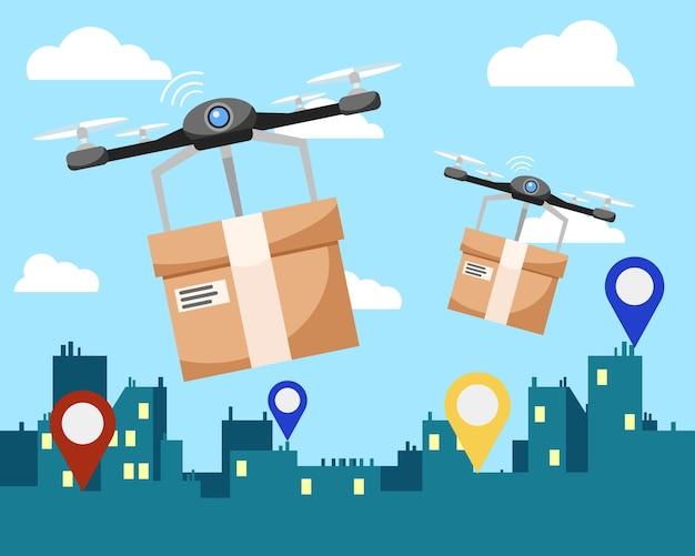 Zwei quadrocopter liefern kartons mit paketen an die adresse in der stadt.