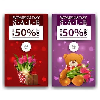 Zwei rabatt-banner für frauentag mit tulpen und teddybären