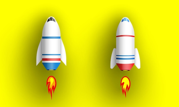 Zwei raketen auf gelb. raumschiffe.
