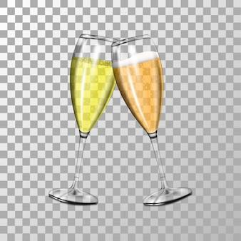 Zwei realistische gläser champagner mit luftblasen, ein glas champagner mit schaum