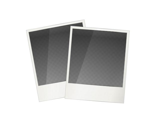 Zwei realistische polaroid fotorahmen
