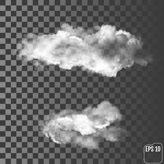 Zwei realistische wolken auf einem transparenten hintergrund