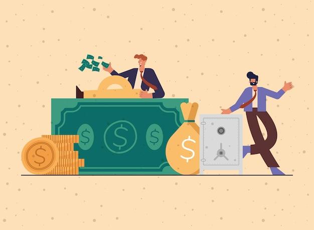 Zwei reiche leute mit geld