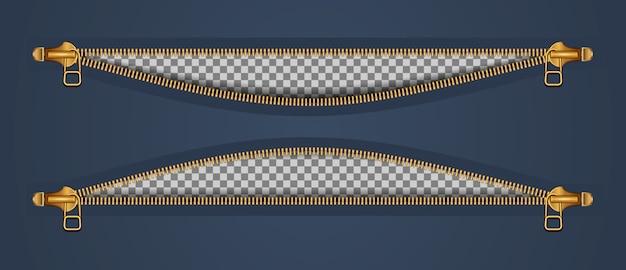 Zwei reißverschlüsse für kleidung in zwei verschlüssen öffnen sich. goldfarbe auf dunkel