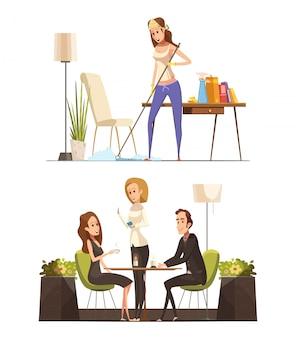 Zwei retro- karikaturzusammensetzungen mit der jungen frau beschäftigt, ihre wohnung säubernd und sitzen im café mit mannvektorillustration