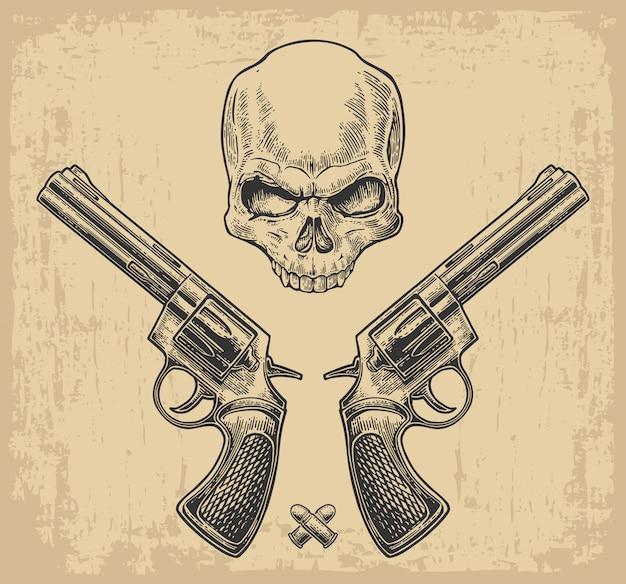 Zwei revolver mit kugeln und schädel.