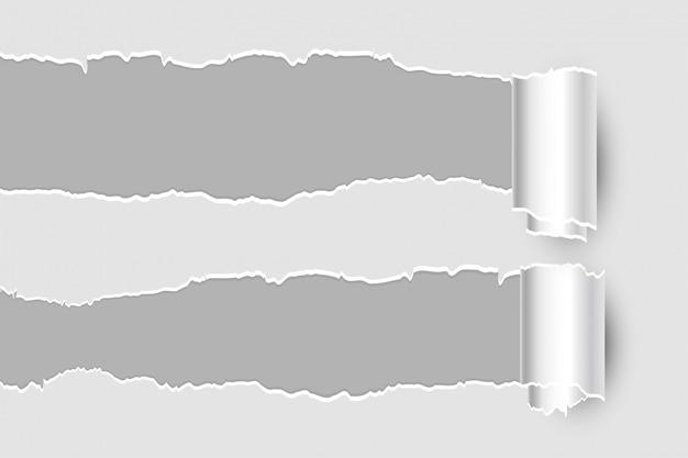 Zwei rollende zerrissene zerrissene papierblattseite