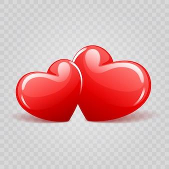 Zwei rote glänzende herzformen lokalisiert auf transparenzillustration