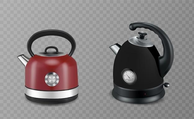 Zwei rote und schwarze wasserkocher aus edelstahl auf transparentem hintergrund. vektor-illustration