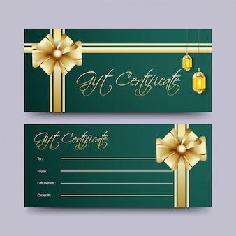 Zwei sätze geschenkgutscheinkartenentwurf mit dekoration des goldes