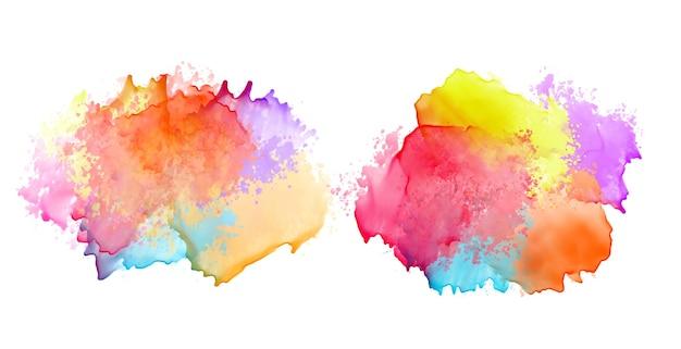 Zwei satz bunte aquarell-spritzbannerentwurf