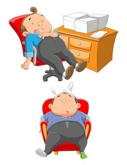 Zwei schläfrige angestellte schlafen auf dem stuhl neben dem schreibtisch der illustration