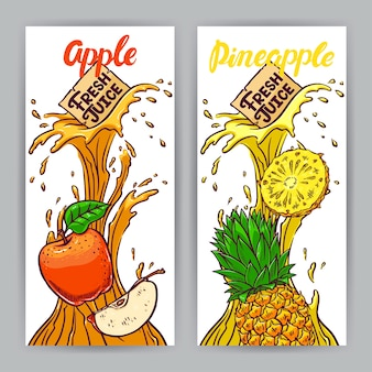 Zwei schöne banner. frischer saft. apfel und ananas. handgezeichnete illustration