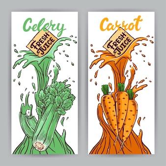 Zwei schöne banner. frischer saft. karotten und sellerie. handgezeichnete illustration