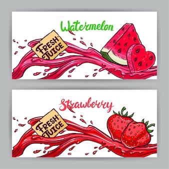 Zwei schöne banner. frischer saft. wassermelone und erdbeeren. handgezeichnete illustration