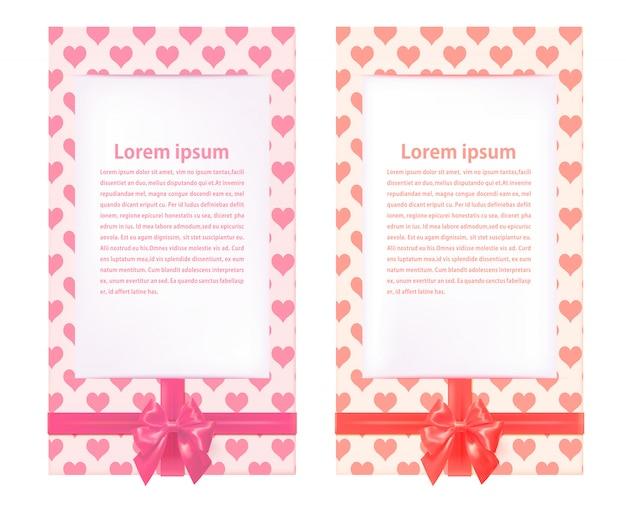 Zwei schöne grußkarten vorlage mit roten bögen. fröhlichen valentinstag. vektor-illustration