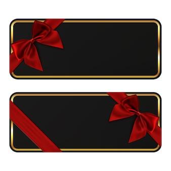 Zwei schwarze banner. geschenkkartenvorlagen mit rotem band und schleife. perfekt für broschüre, flyer oder poster.