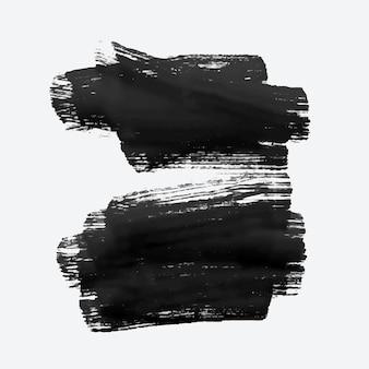 Zwei schwarze grunge aquarell pinselstrich