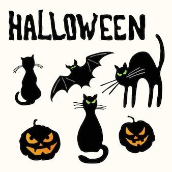 Zwei schwarze silhouettenkatzen, schnitzende kürbislaternen, fledermaus und halloween-titel isoliert
