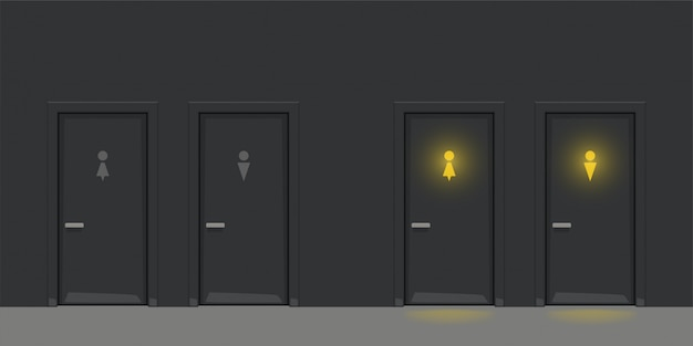 Zwei schwarze wc-türen an der schwarzen wand