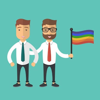 Zwei schwuler mann, der zusammen mit regenbogenflagge steht