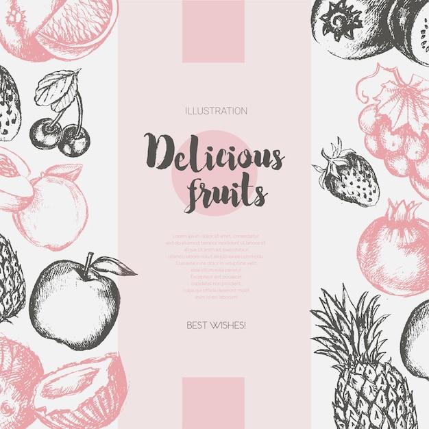 Zwei seitliche fruchtrahmen - moderne handgezeichnete designillustration des vektors mit exemplar für ihr logo. trauben, kirschen, ananas, erdbeere, kokosnüsse, apfel.