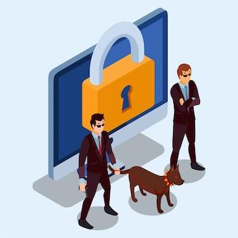 Zwei sicherheitsbeamte und ein hund, der für die bewachung einer computer-isometrischen illustration steht