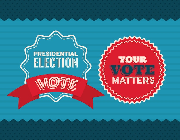 Zwei siegelstempel auf blauem und gestreiftem hintergrunddesign, präsidentschaftswahlregierung und wahlkampfthema.