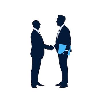 Zwei silhouette geschäftsmann hand shake
