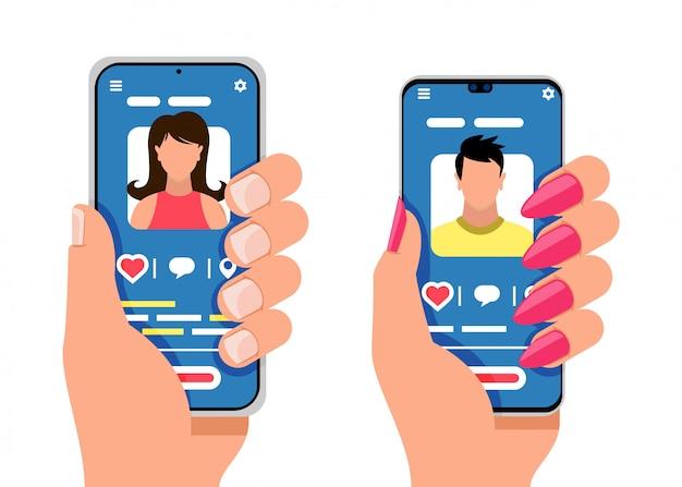 Zwei smartphones mit männlichen und weiblichen silhouetten. social media, mobile messenger-konzept.