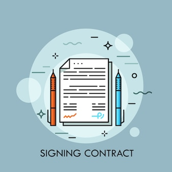 Zwei stifte unterschiedlicher farbe und papier dokumentieren dazwischen. vertragsunterzeichnung, abschluss der geschäftsvereinbarung, vertragsabschlusskonzept.