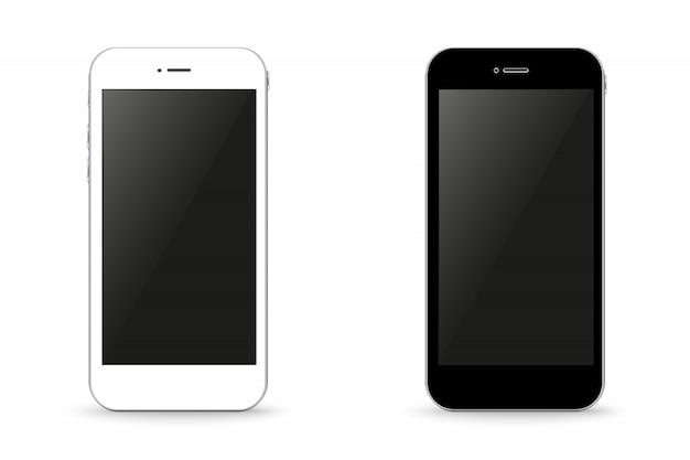 Zwei stilvolle telefone schwarz und weiß.