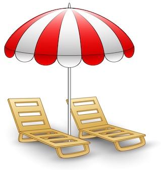 Zwei strandstühle unter sonnenschirm