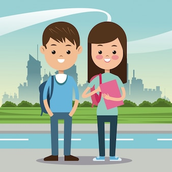 Zwei studenten mit städtischem hintergrund des taschenbuches