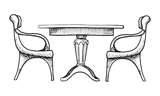 Zwei stühle und ein tisch. vektorillustration im skizzenstil.