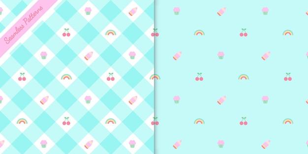 Zwei süße kawaii nahtlose muster setzen premium-vektor